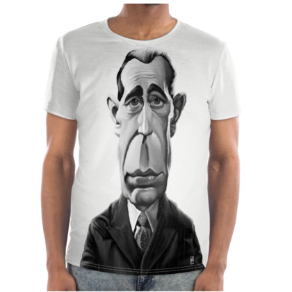 Humphrey Bogart Celebrity Caricature Cut and Sew T Shirt