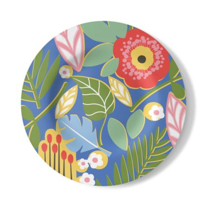 Paradise House Tropical Floral Blue Decorative Plate