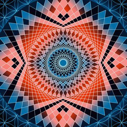 Tablecloth red Blue Mandala