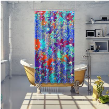 Shower Curtain Cosmos Blue Flowers