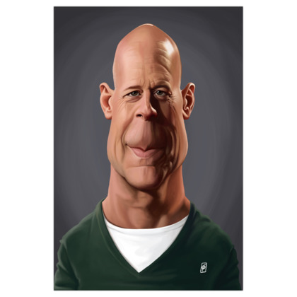 Bruce Willis Celebrity Caricature Art Print