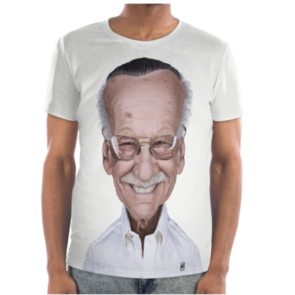 Stan Lee Celebrity Caricature Cut and Sew T Shirt