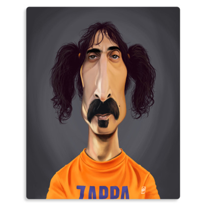Frank Zappa Celebrity Caricature Metal Print