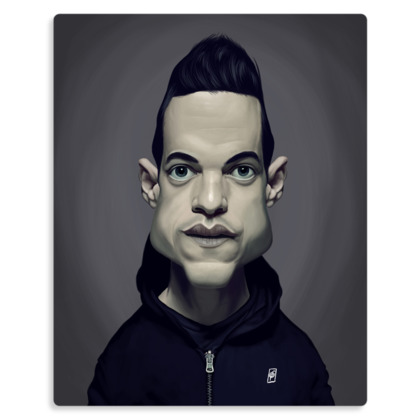 Rami Malek Celebrity Caricature Metal Print