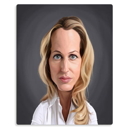 Gillian Anderson Celebrity Caricature Metal Print