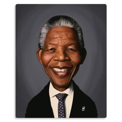 Nelson Mandela Celebrity Caricature Metal Print