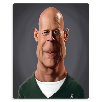 Bruce Willis Celebrity Caricature Metal Print