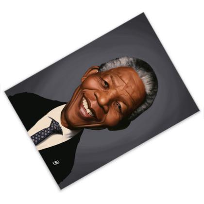 Nelson Mandela Celebrity Caricature Postcard