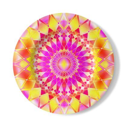 Decorative Plate Yellow Pink Mandala