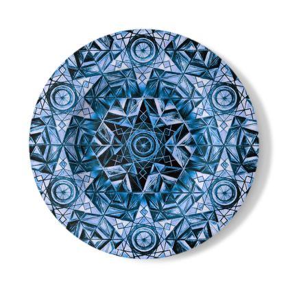 Decorative Plate Blue Kaleidoscope
