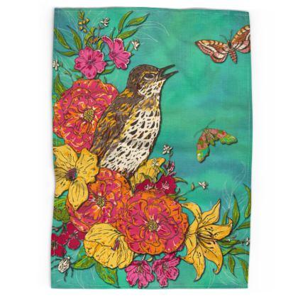 Floral Song Thrush Tea Towel