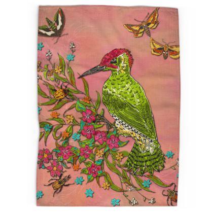 Floral Woodpecker Tea Towel