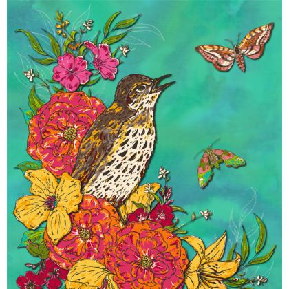 Floral Song Thrush Coasters