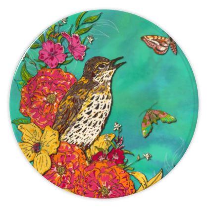 Floral Song Thrush China Plates