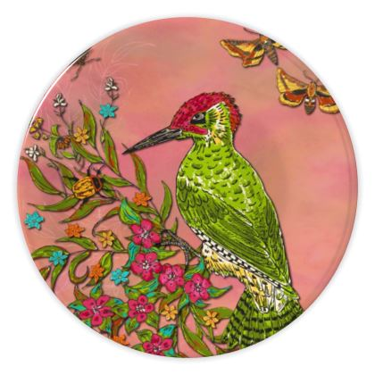 Floral Woodpecker China Plate