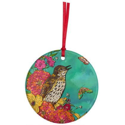 Floral Song Thrush Hanging Ornament