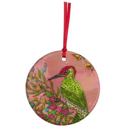Floral Woodpecker Hanging Ornament