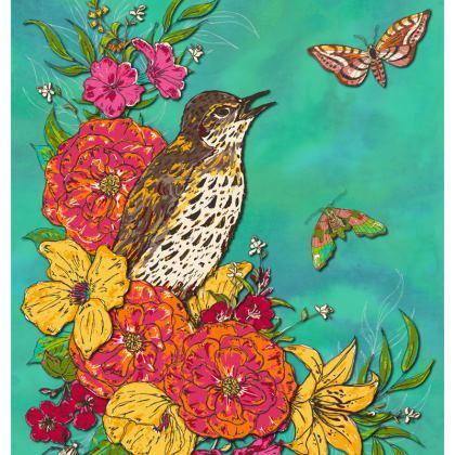 Floral Song Thrush Cushion