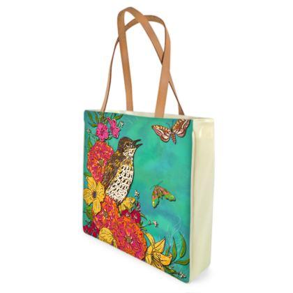 Floral Song Thrush Shopper Bag