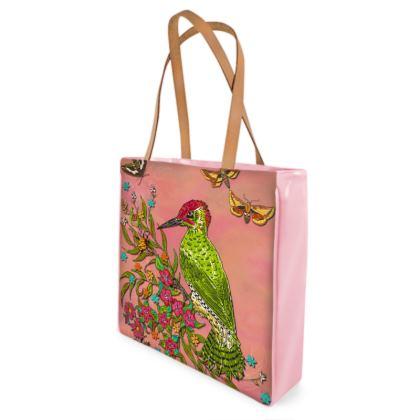 Floral Woodpecker Shopper Bag