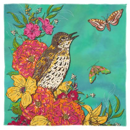 Floral Song Thrush Scarf, Wrap or Shawl