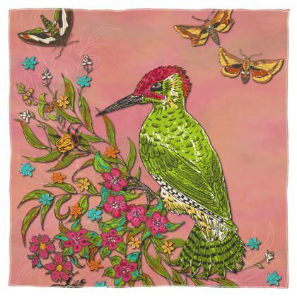 Floral Woodpecker Scarf, Wrap or Shawl