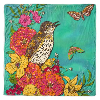 Floral Song Thrush Throw Blanket