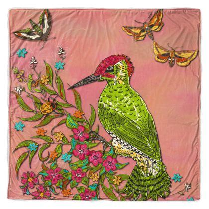 Floral Woodpecker Throw Blanket