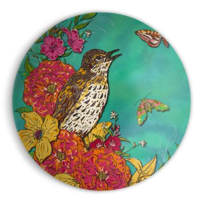 Floral Song Thrush Ornamental Bowl