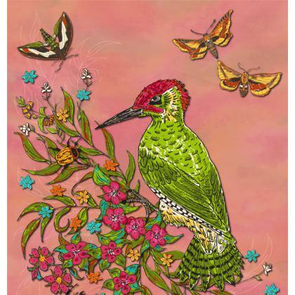 Floral Woodpecker Ornamental Bowl