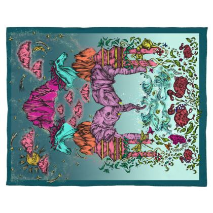 Real silk satin mystical wonderland scarf