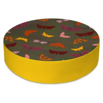 Butterflies & Moths Round Floor Cushion