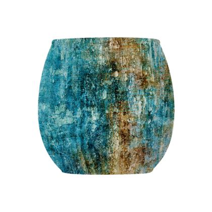 [Glass Tealight Candle Holder (Round) ] Abstract Artwork - Aqua Stone -  Turquoise & Gold Stone/Crystal Texture