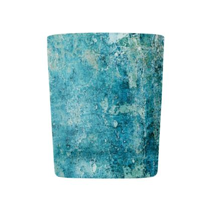 [Glass Tealight Candle Holder] Abstract Artwork - Aqua Stone - Turquoise Blue Stone/Crystal Texture