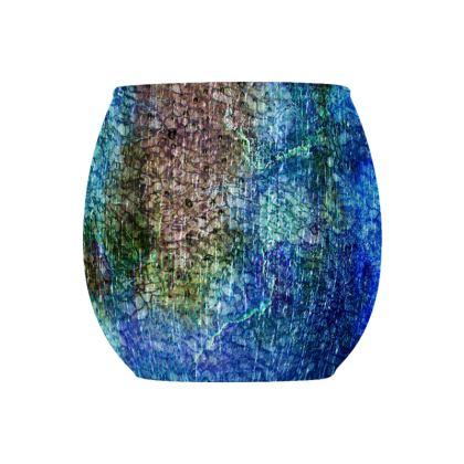 [ Glass Tealight Candle Holder (Round) ] Abstract Artwork - Aqua Stone II - Blue Green & Dark Khaki Texture