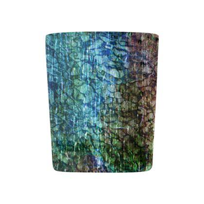 [Glass Tealight Candle Holder ] Abstract Artwork - Aqua Stone II - Blue Green & Dark Khaki Texture