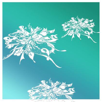 Kimono - White Ink Turquoise