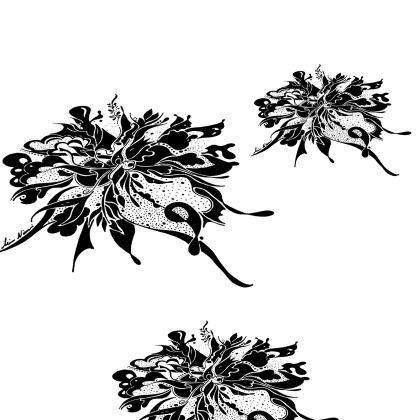 Kimono - Black Ink white