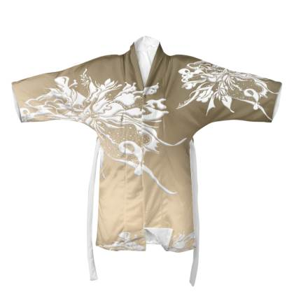 Kimono - White Ink Brown dream
