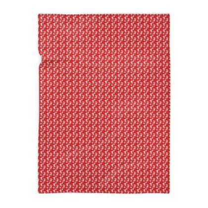 grand plaid, motif blanc, fond rouge