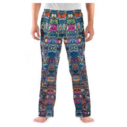 Mens Pyjama Bottoms Splashes Blue Brown