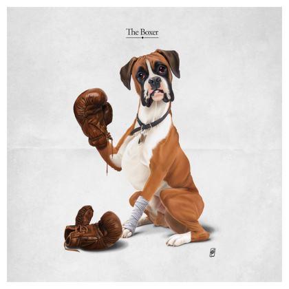 The Boxer ~ Titled Animal Behaviour Cushion
