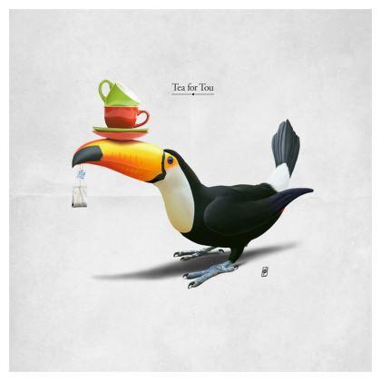 Tea for Tou ~ Titled Animal Behaviour Cushion