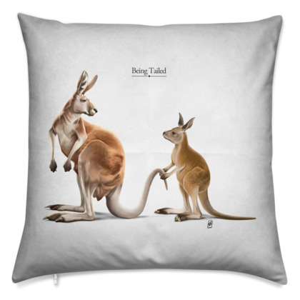 Being Tailed ~ Titled Animal Behaviour Cushion