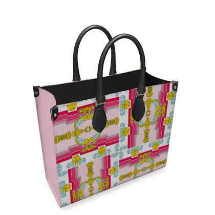 Roads of Barcelona - Pink - Leather Shopper Bag