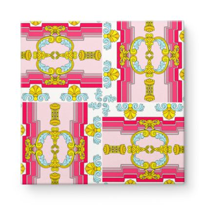 Roads of Barcelona - Pink - Square Canvas