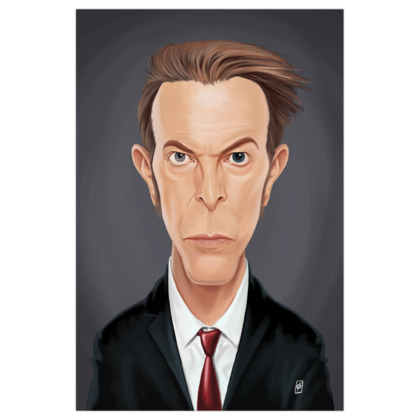 David Bowie Celebrity Caricature Art Print
