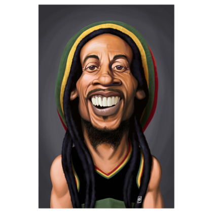 Bob Marley Celebrity Caricature Art Print