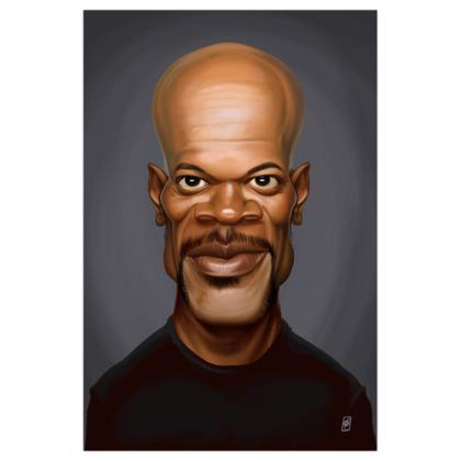 Samuel L Jackson Celebrity Caricature Art Print
