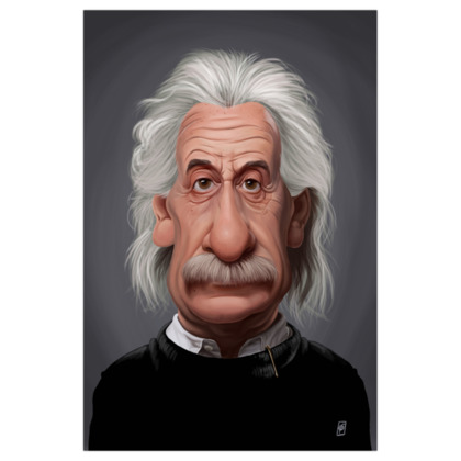 Albert Einstein Celebrity Caricature Art Print